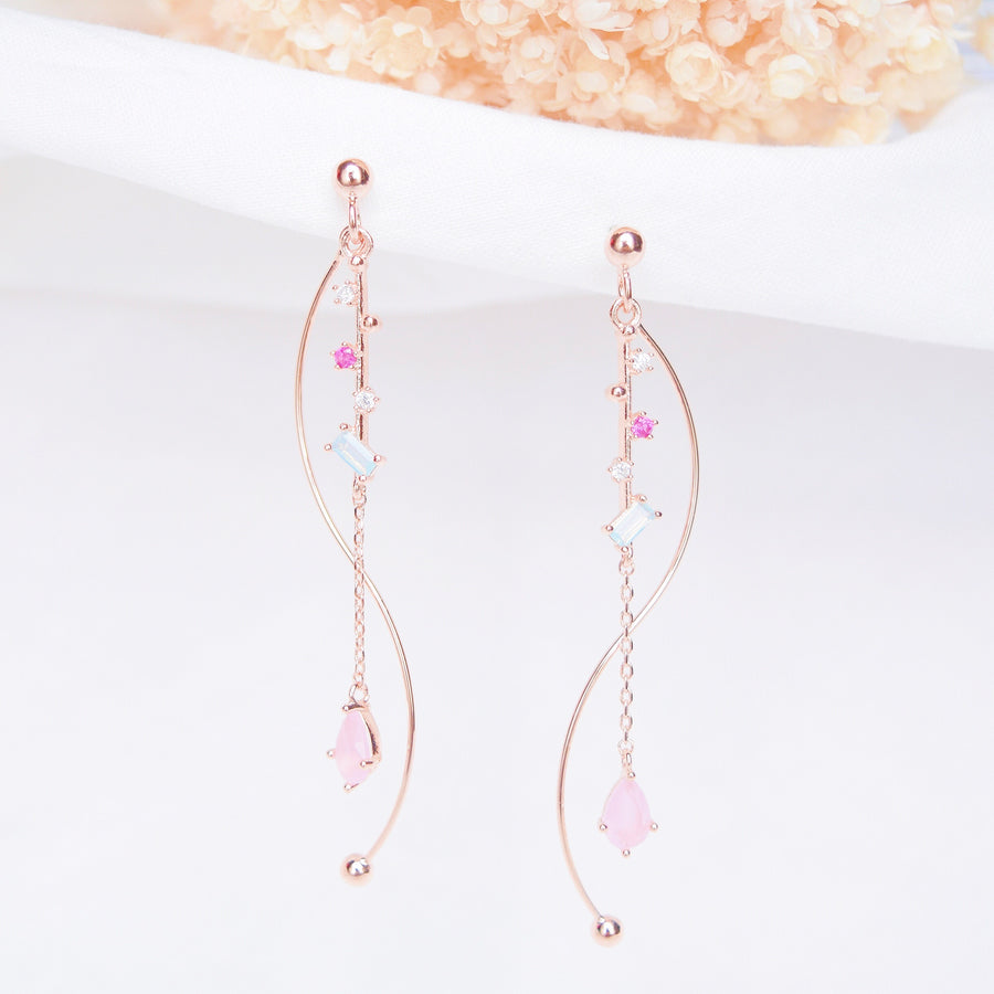 Rose Gold Silver Korea Made Earrings Korean Jewellery Jewelry Local Brand in Malaysia Cubic Zirconia Dainty Delicate Minimalist Jewellery Jewelry Bridal Bride Clip On Earrings 925 Sterling Silver Dinner Accessory