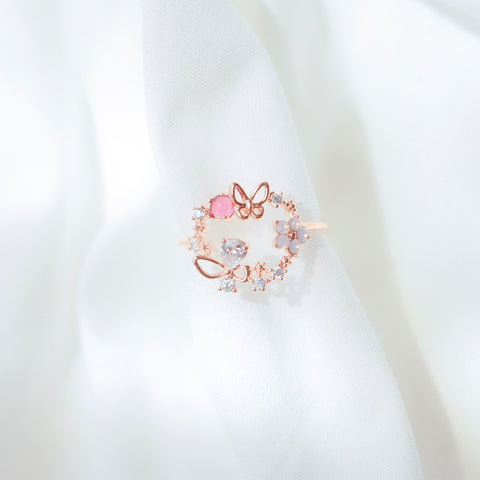 Rose Gold Ring Korea Made Earrings Cubic Zirconia Stone 925 Silver Daily Wear Cincin Adjustable Surprise Gift For Special Person