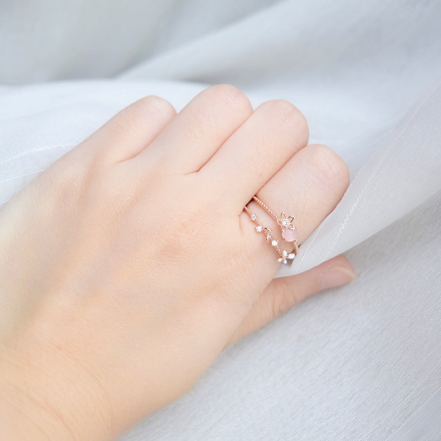 Rose Gold  Ring Korea Made Earrings Cubic Zirconia Stone 925 Silver Daily Wear Cincin Adjustable Best Gift For Her