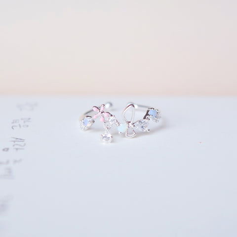 Silver Ring Korea Made Earrings Cubic Zirconia Stone 925 Silver Daily Wear Cincin Adjustable Gift For Girls Surprise