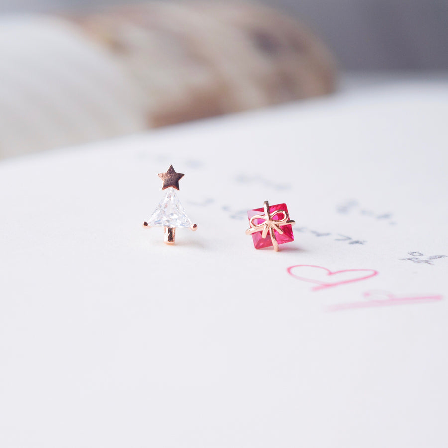 Rose Gold Xmas Earrings