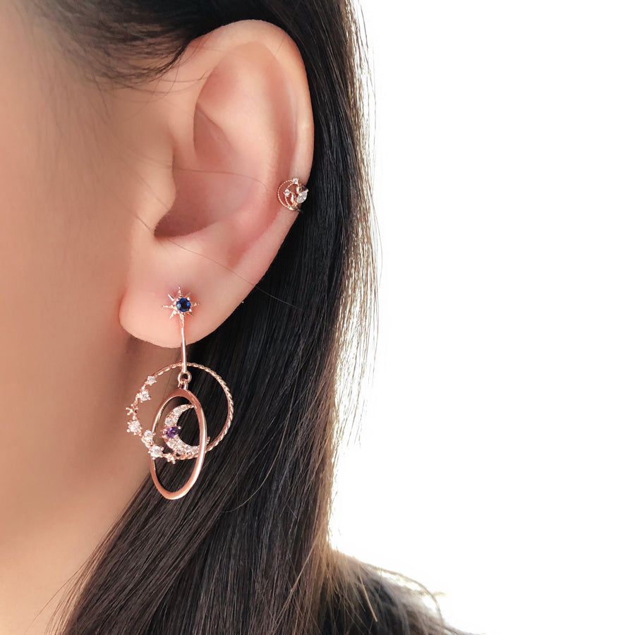 Jewellery Jewelry Rose Gold Korea Made Earrings Local Brand in Malaysia Cubic Zirconia Korean Earrings Ear Cuff Earcuff Earrings Dainty Minimalist Anting Gift for her No piercing Earrings