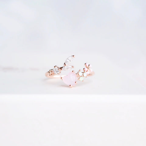 Rose Gold  Ring Korea Made Earrings Cubic Zirconia Stone 925 Silver Daily Wear Cincin Unforgettable  Surprise Gift For Her On Special Day