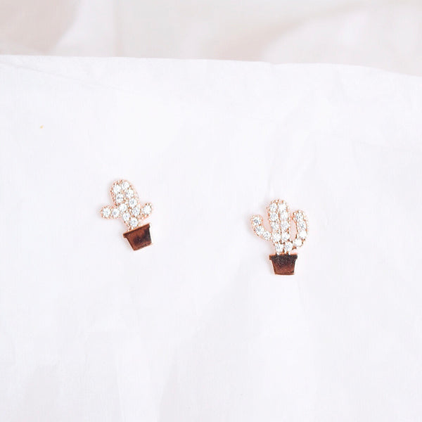 Rose Gold Cactus Earrings