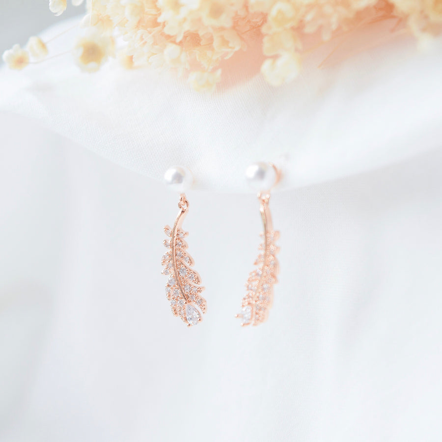Rose Gold Made in Korea Earrings Korean Anting Cubic Zirconia Bride Bridal Dinner 925 Sterling Silver Accessory Fashion Fancy Stylish Costume Jewellery Online Malaysia Shopping Trendy Accessories Daily Wear Jewelry Dainty Minimalist Delicate Clip On Earrings No Piercing Special Perfect Gift From Heart For Your Loved One Hotel del Luna