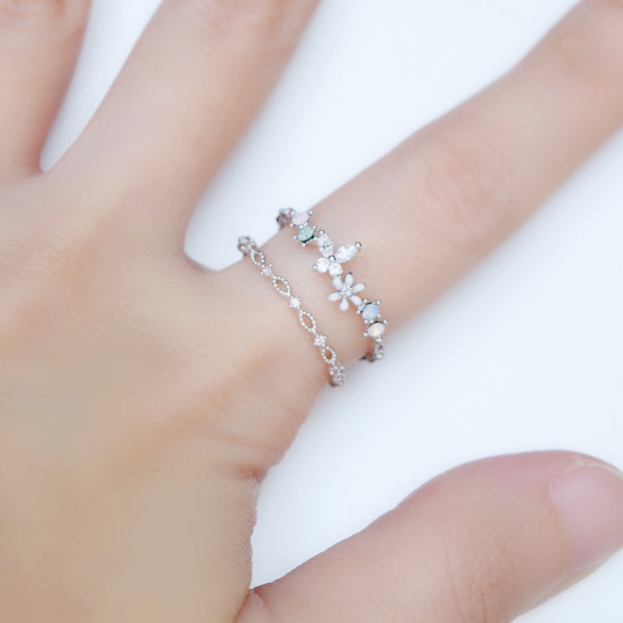 Silver Ring Korea Made Earrings Cubic Zirconia Stone 925 Silver Daily Wear Fashion Cincin Jewellery Stylish Adjustable Unique Gift
