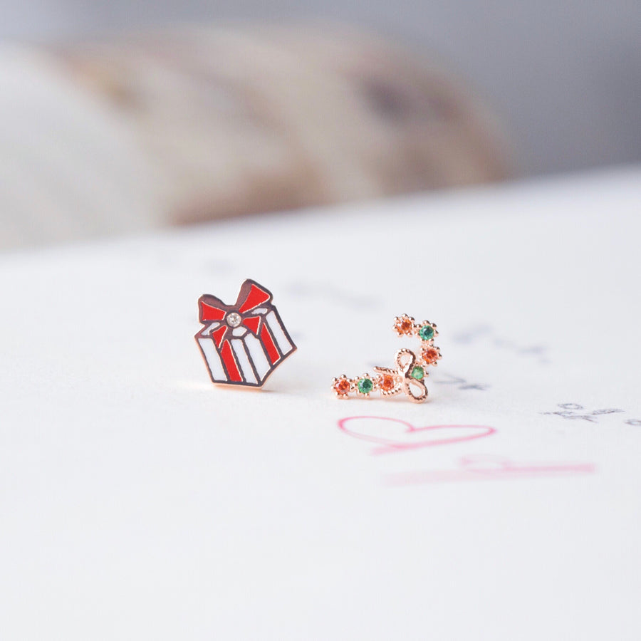 Rose Gold Candy Cane & Present Earrings