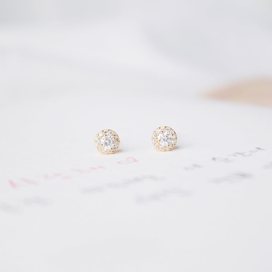 Gold Made in Korea Earrings Korean Anting Cubic Zirconia Bride Bridal Dinner Titanium Accessory Fashion Fancy Stylish Costume Jewellery Online Malaysia Shopping Trendy Accessories Daily Wear Jewelry Dainty Minimalist Delicate Petite Stud Earrings Clip On Earrings No Piercing Special Perfect Gift From Heart For Your Loved One