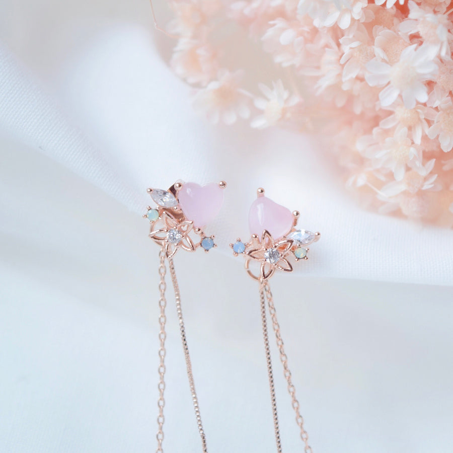 Rose Gold Korea Made Earrings Local Brand in Malaysia Cubic Zirconia Clip On Earrings