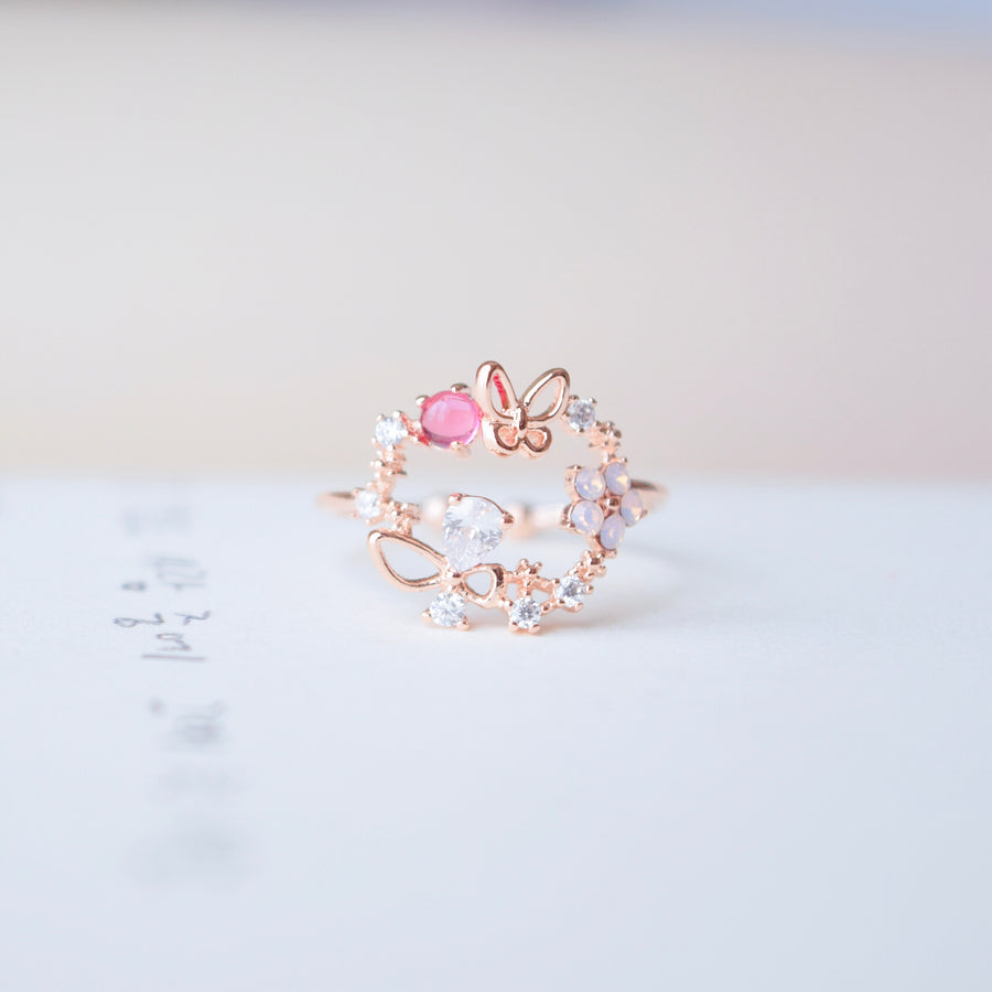 Rose Gold Ring Korea Made Earrings Cubic Zirconia Stone Rhodium Plated Daily Wear Cincin Adjustable Surprise Gift For Special Person