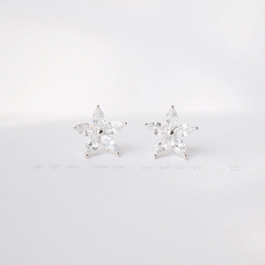 Silver Korea Made Earrings Petite Stud Cubic Zirconia Resin Clip On Earrings Daily Wear Earrings Can Wear to Shower Earrings