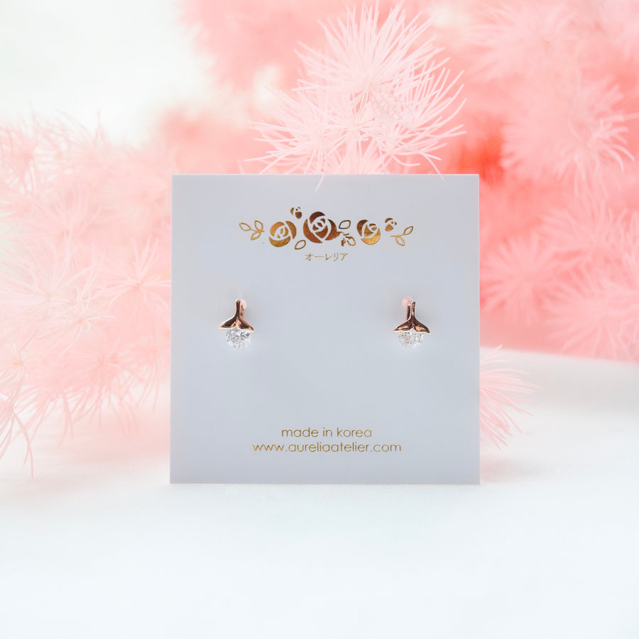 Rose Gold Made in Korea Earrings Korean Anting Cubic Zirconia Bride Bridal Dinner 925 Sterling Silver Accessory Fashion Fancy Stylish Costume Jewellery Online Malaysia Shopping Trendy Accessories Daily Wear Jewelry Dainty Minimalist Delicate Petite Stud Earrings Clip On Earrings No Piercing Special Perfect Gift From Heart For Your Loved One