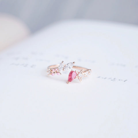 Rose Gold Ring Korea Made Earrings Cubic Zirconia Stone 925 Silver Daily Stylish Wear Fashion Jewellery Cincin Special Gift Your Dearest Ones