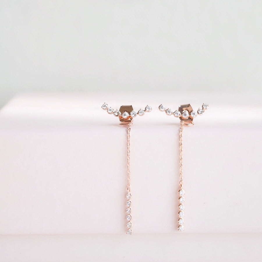 Rose Gold Made in Korea Earrings Korean Anting Cubic Zirconia Bride Bridal Dinner 925 Sterling Silver Accessory Fashion Fancy Stylish Jewellery Online Malaysia Shopping Trendy Accessories Daily Wear Jewelry Dainty Minimalist Delicate Clip On Earrings No Piercing Special Perfect Gift From Heart For Your Loved One