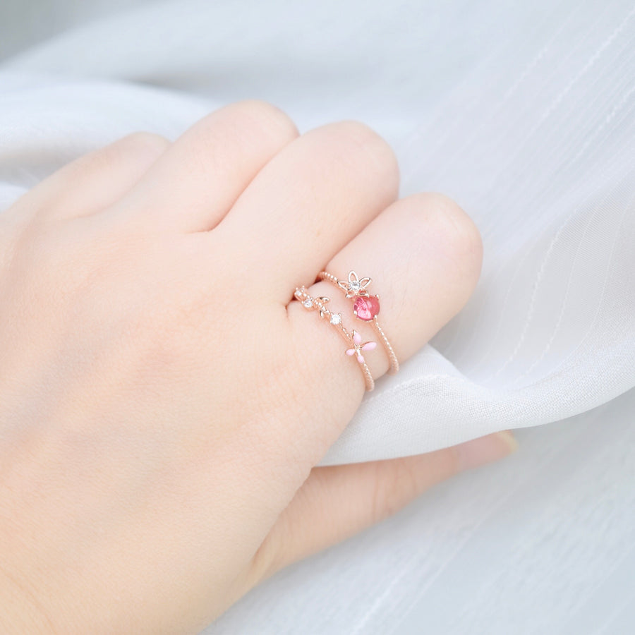Rose Gold Ring Korea Made Earrings Cubic Zirconia Stone 925 Silver Daily Wear Cincin Adjustable Gift For Her Surprise Jewelry