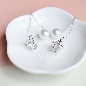 Silver Tiara Floating Earrings