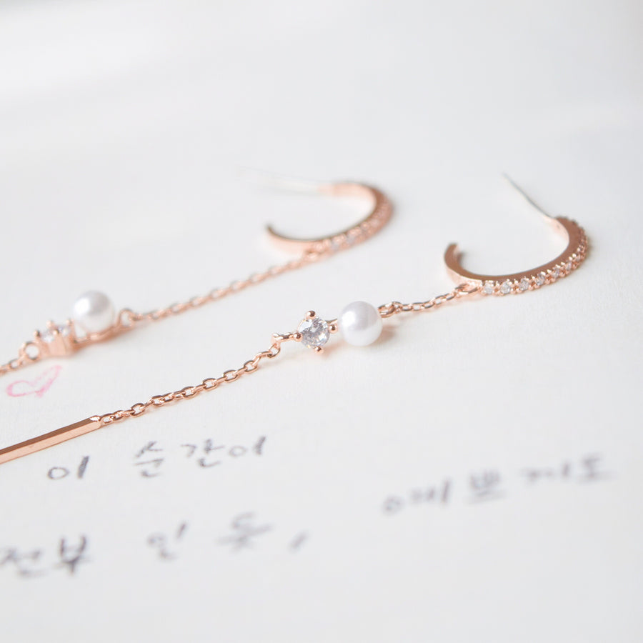 Rose Gold Dainty Delicate Korea Made Earrings Clip On Earrings