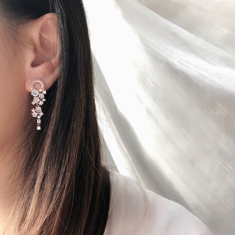 Hotel del Luna IU Rose Gold Made in Korea Earrings Korean Anting Cubic Zirconia Bride Bridal Dinner 925 Sterling Silver Accessory Fashion Fancy Stylish Costume Jewellery Online Malaysia Shopping Trendy Accessories Daily Wear Jewelry Dainty Minimalist Delicate Clip On Earrings No Piercing Special Perfect Gift From Heart For Your Loved One Hotel del Luna