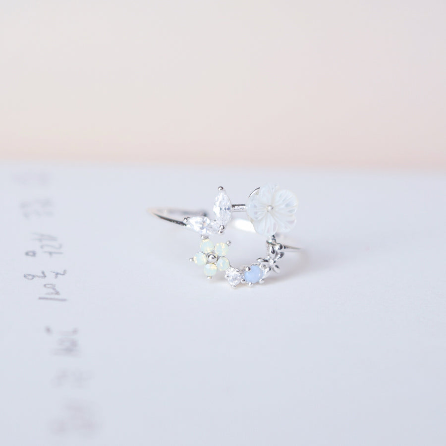 Silver Ring Korea Made Earrings Cubic Zirconia Stone 925 Silver Daily Wear Cincin Adjustable Best Gift For Her