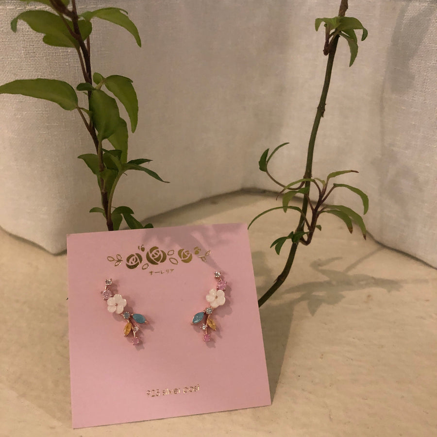 Rose Gold Eustoma Earrings