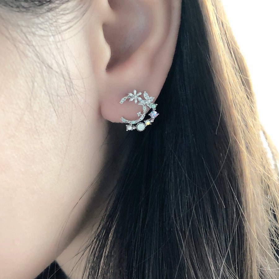 Korea Made Earrings Dainty Delicate Local Brand in Malaysia 925 Sterling Silver Anting Cubic Zirconia Jewellery Jewelry Dainty Minimalist Korean Bridal Earrings Anting