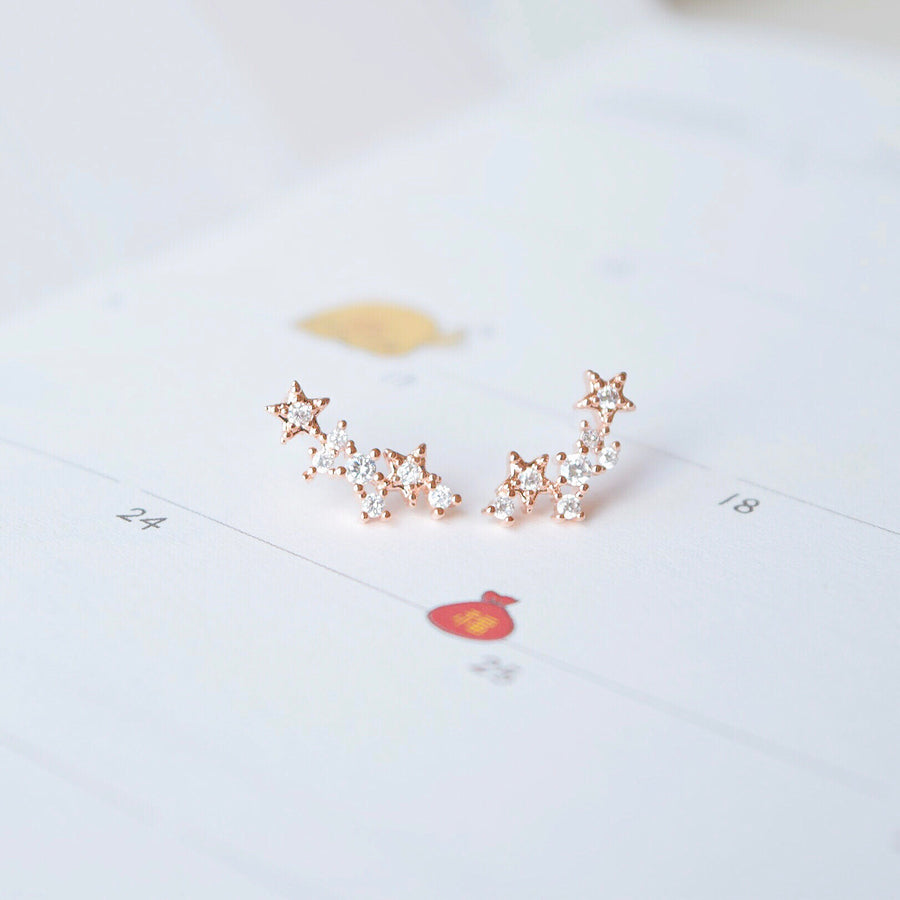Gold Korea Made Earrings Petite Stud Cubic Zirconia 925 Silver Daily Wear Anting-Anting Korean Fashion Stylish Resin Clip On Earrings Party Wear