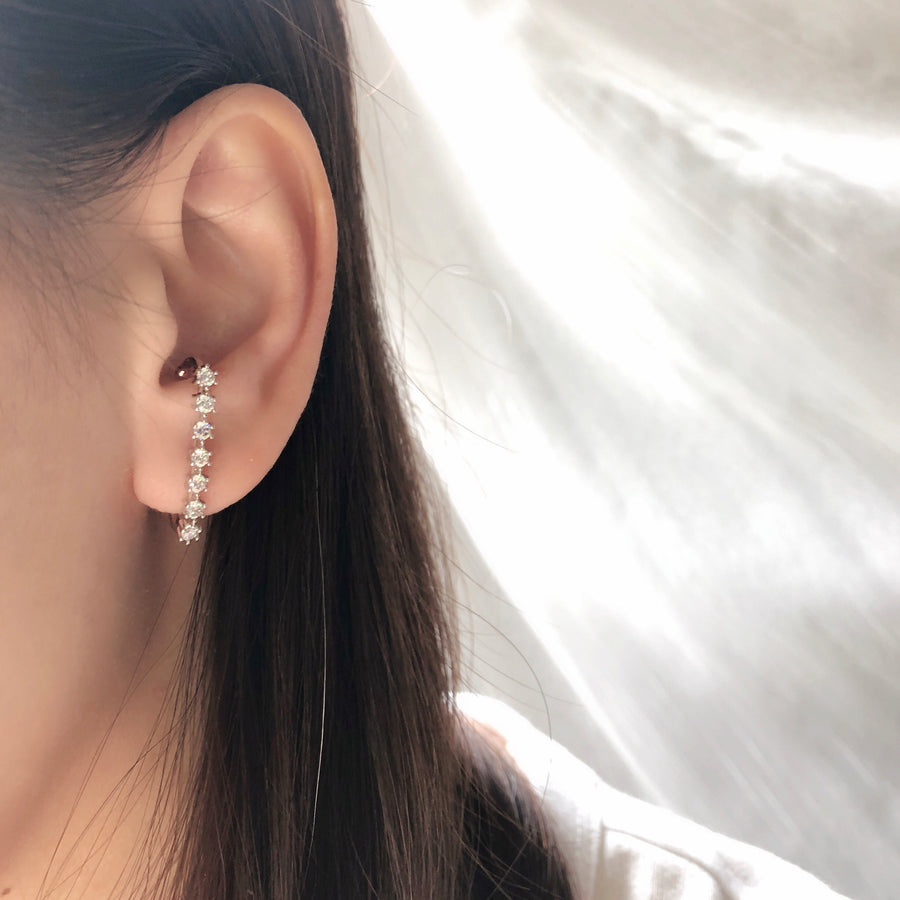 Made in Korea Earrings Korean Anting Cubic Zirconia Bride Bridal Dinner Titanium Accessory Fashion Fancy Stylish Costume Jewellery Online Malaysia Shopping Trendy Accessories Daily Wear Jewelry Dainty Minimalist Delicate Ear Cuff Earcuff Earrings No Piercing Special Perfect Gift From Heart For Your Loved One