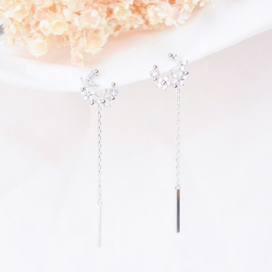 Rose Gold Korea Made Earrings Korean Jewellery Jewelry Local Brand in Malaysia Cubic Zirconia Dainty Delicate Minimalist Jewellery Jewelry Bridal Bride Clip On Earrings 925 Sterling Silver