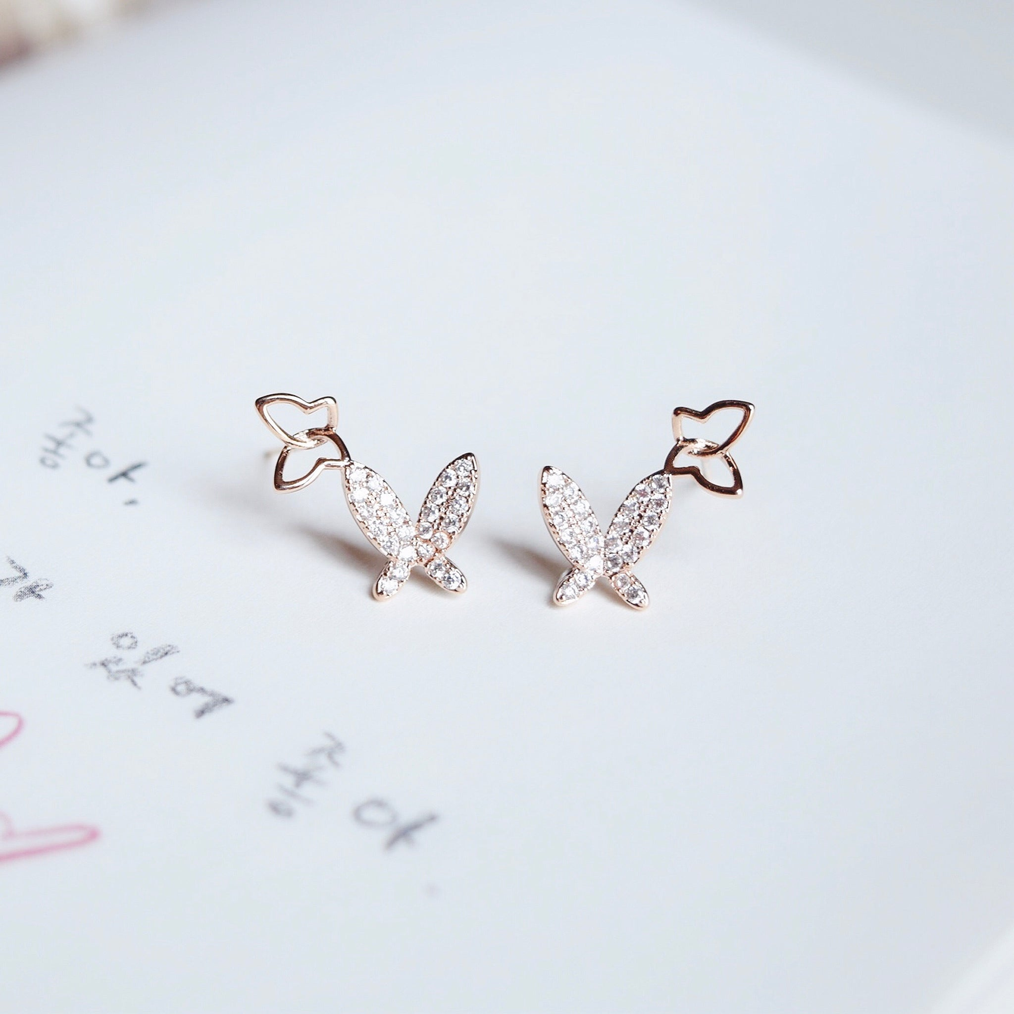 Rose Gold Wishes on Wings Earrings