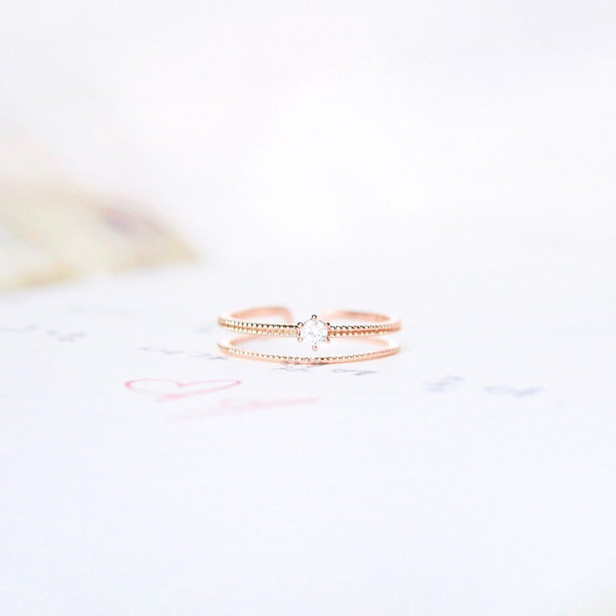 Rose Gold Ring Korea Made Earrings Cubic Zirconia Stone 925 Silver Daily Wear Fashion Cincin Jewellery Stylish Adjustable Unique Gift