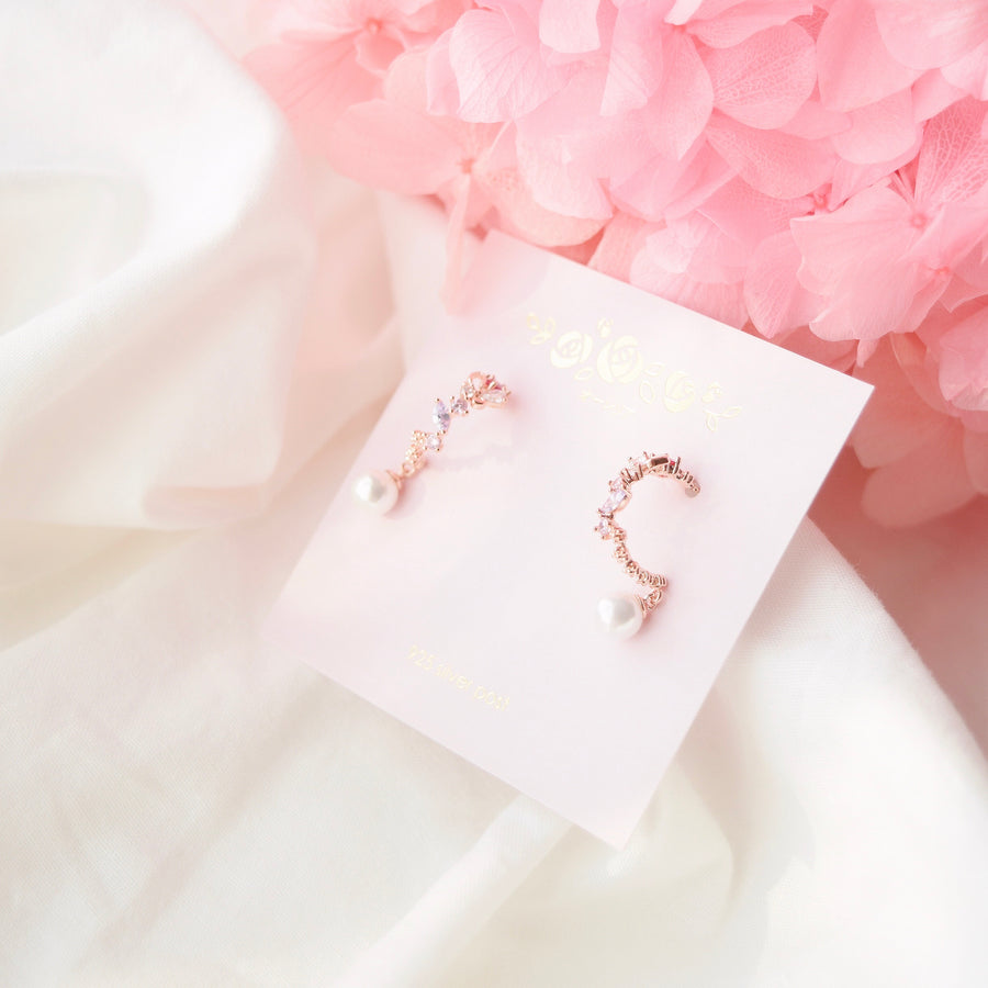 Rose Gold Korea Made Earrings Local Brand in Malaysia Cubic Zirconia Dainty Delicate Minimalist Jewellery Jewelry Bridal Bride Clip On Earrings 925 Sterling Silver