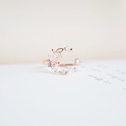 Rose Gold  Ring Korea Made Earrings Cubic Zirconia Stone 925 Silver Daily Wear Cincin Adjustable Gift Ideas For Her On Valentine's Day