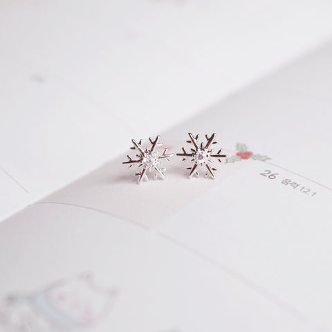 Silver Mini Snowflake Earrings