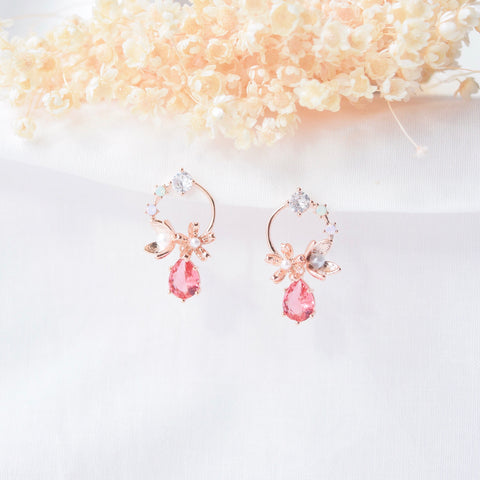 Rose Gold Made in Korea Earrings Korean Anting Cubic Zirconia Bride Bridal Dinner 925 Sterling Silver Accessory Fashion Fancy Stylish Costume Jewellery Online Malaysia Shopping Trendy Accessories Daily Wear Jewelry Dainty Minimalist Delicate Clip On Earrings No Piercing Special Perfect Gift From Heart For Your Loved One