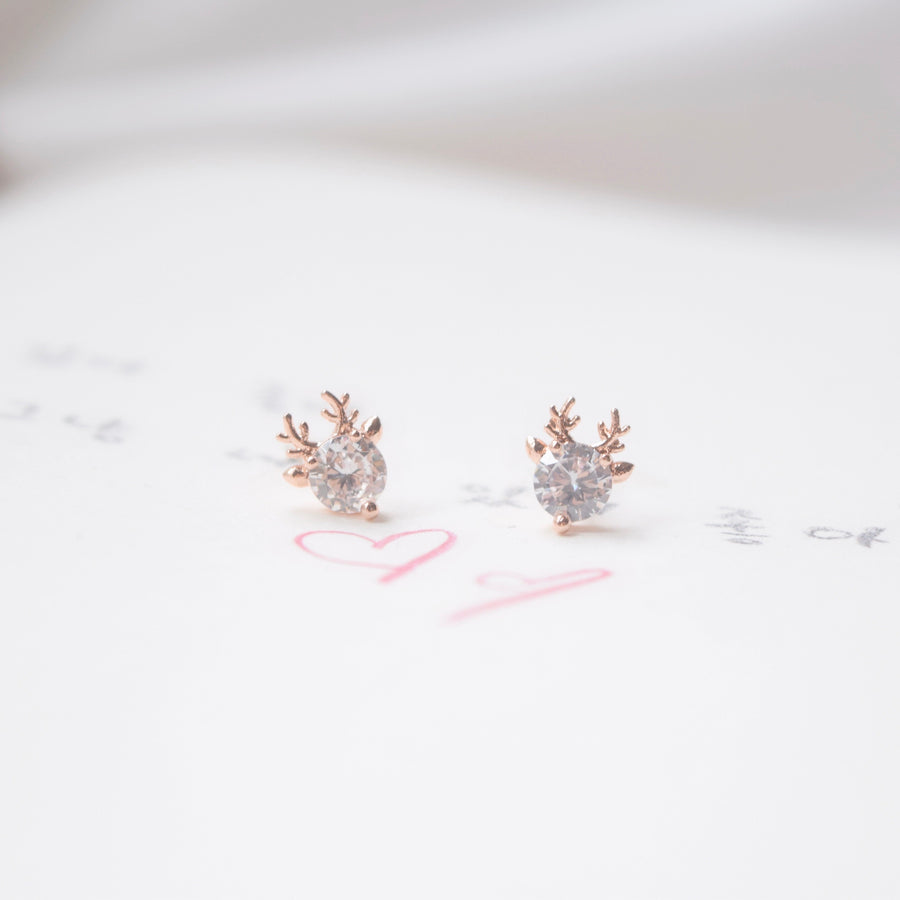 rudolf reindeer Made in Korea Earrings Korean Anting Cubic Zirconia Bride Bridal Dinner 925 Sterling Silver Accessory Fashion Fancy Stylish Costume Jewellery Online Malaysia Shopping Trendy Accessories Daily Wear Jewelry Dainty Minimalist Delicate Clip On Earrings No Piercing Special Perfect Gift From Heart For Your Loved One Christmas Snowflake