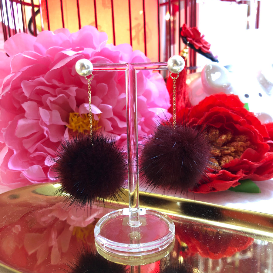 Wine Pom Pom Earrings