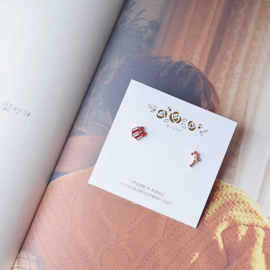 Accessory Gift for her Rose Gold Korea Made Earrings Korean Jewellery Jewelry Local Brand in Malaysia Cubic Zirconia Dainty Delicate Minimalist Jewellery Jewelry Bridal Bride Clip On Earrings 925 Sterling Silver Anting Dinner Silver Christmas Gift Set Xmas Silver snowman wreath candy cane present