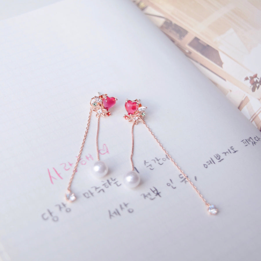 Rose Gold Korea Made Earrings Local Brand in Malaysia Cubic Zirconia 925 Sterling Silver Anting