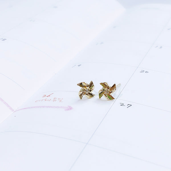 Gold Windmill Earrings