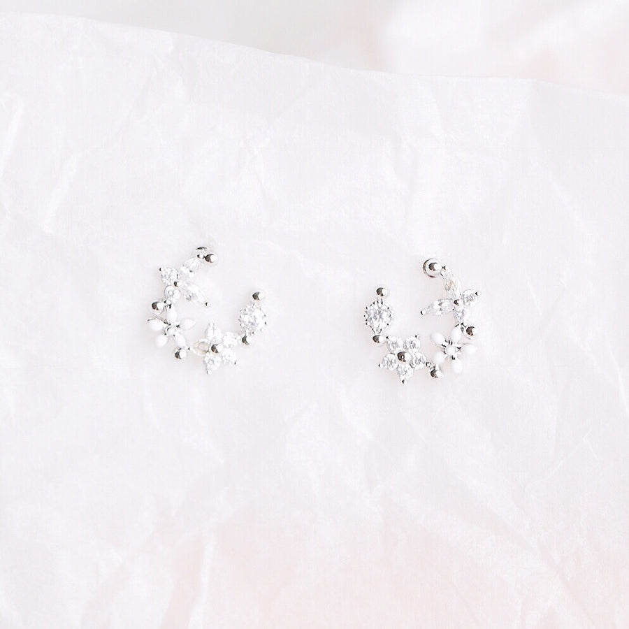 Rose Gold Korea Made Earrings Local Brand in Malaysia Cubic Zirconia Anting Clip On Earrings