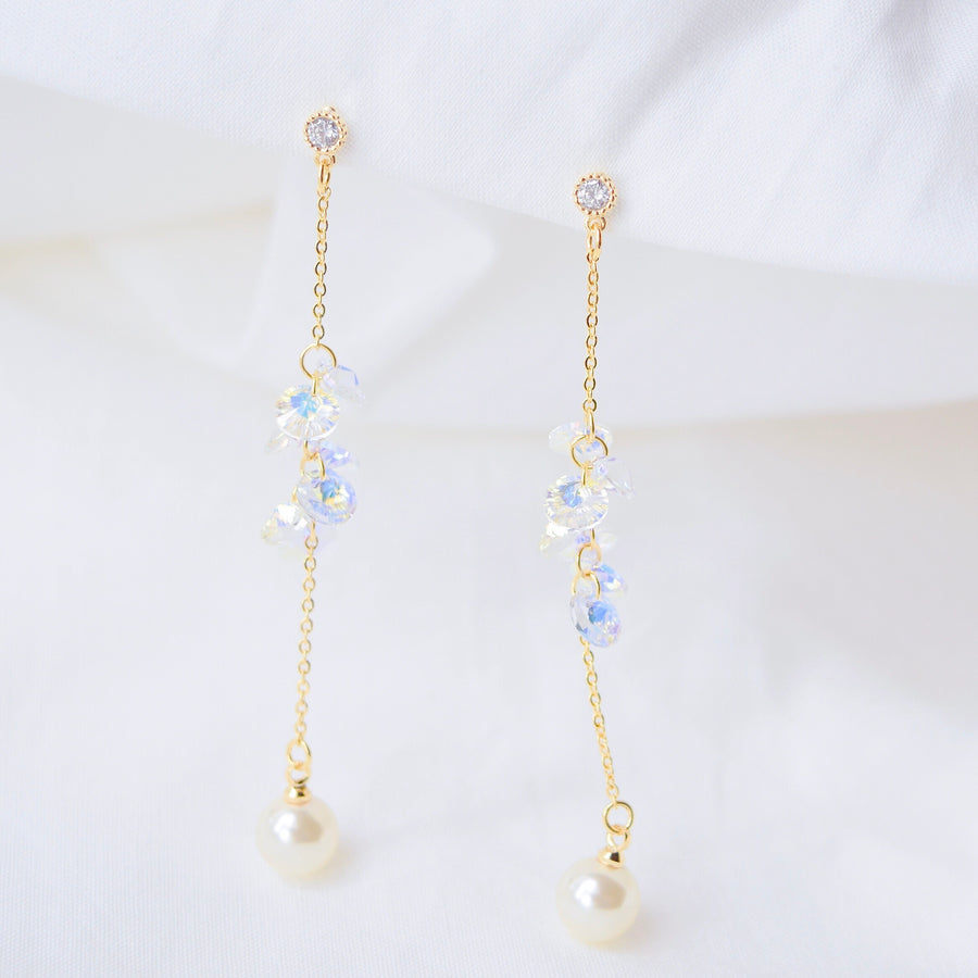 Made in Korea Earrings Korean Handmade in Malaysia Anting Swarovski Bride Bridal Dinner 925 Sterling Silver Accessory Gold Ruby Pear costume Jewellery Jewelry Dainty Minimalist Delicate Clip On Earrings No Piercing