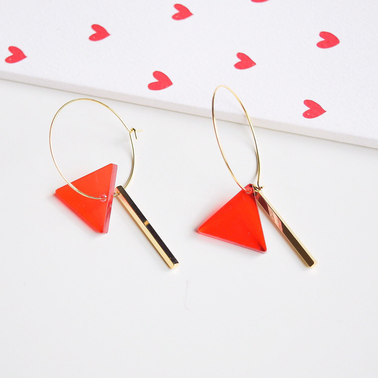 Red Triangle Drop Earrings