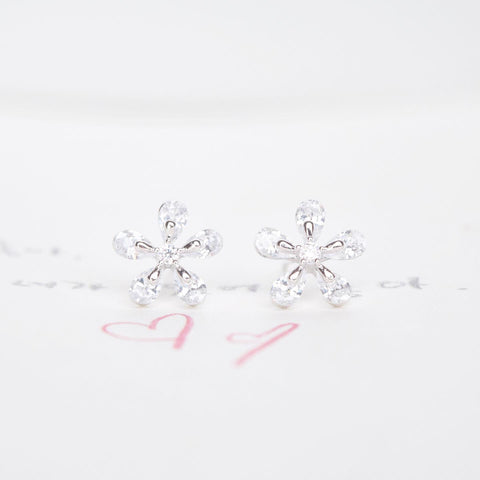 Silver Korea Made Earrings Petite Stud Cubic Zirconia 925 Silver Daily Wear Earrings Can Wear to Shower Earrings