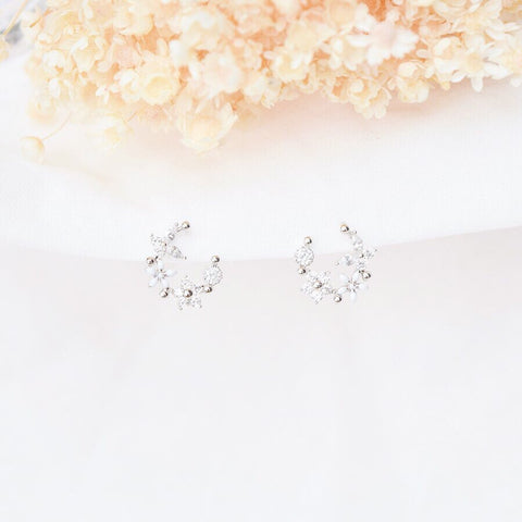 Silver Korea Made Earrings Local Brand in Malaysia Dainty Minimalist 925 Sterling Silver Cubic Zirconia Clip On Earrings