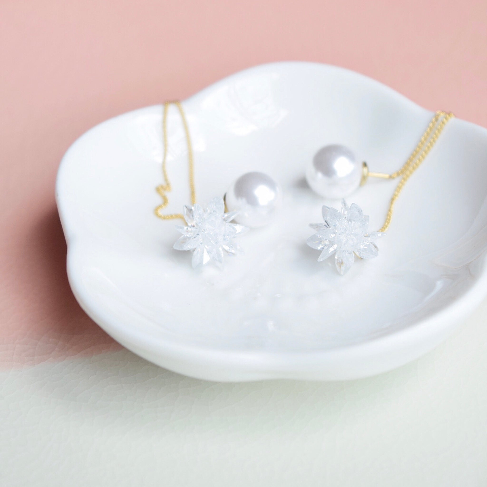 Gold Snowflake Floating Earrings