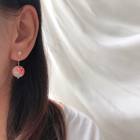 Made in Japan Earrings Japanese Style Anting Tensha Beads Bride Bridal Dinner 925 Sterling Silver Accessory Fashion Fancy Stylish Costume Jewellery Online Malaysia Shopping Trendy Accessories Daily Wear Jewelry Dainty Minimalist Delicate Clip On Earrings No Piercing Special Perfect Gift From Heart For Your Loved One Handmade In Malaysia Chinese New Year Gong Xi Fa Cai 転写ビーズイヤリングピース手作りハンドメードアクセサリー