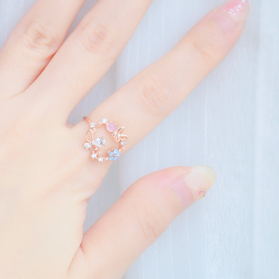 Rose Gold  Ring Korea Made Earrings Cubic Zirconia Stone Rhodium Plated Daily Wear Fashion Cincin Adjustable Romantic Gift