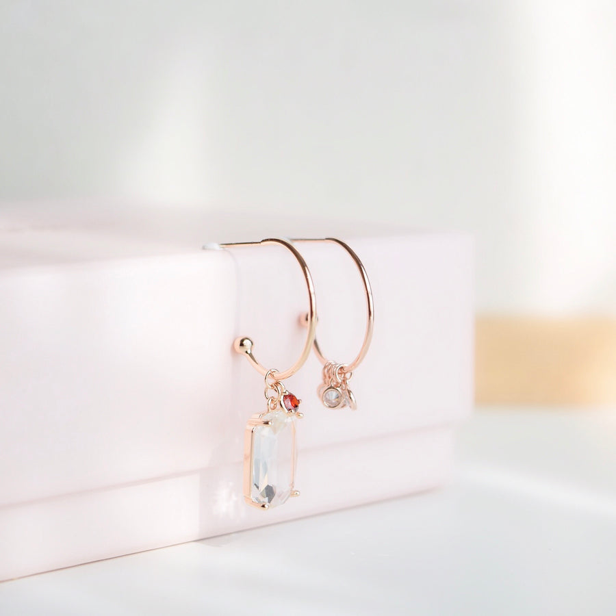 Rose Gold Korea Made Earrings Local Brand in Malaysia Dainty Minimalist Cubic Zirconia K Drama Earrings