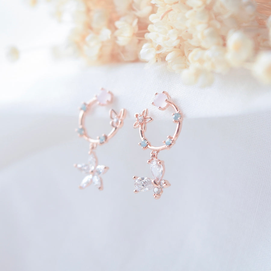 Rose Gold Morning Glory Earrings
