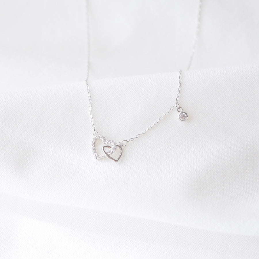 Silver Made in Korea Necklace Korean Rantai Leher Cubic Zirconia Bride Bridal Dinner Rhodium Plated Accessory Fashion Fancy Stylish Jewellery Online Malaysia Shopping Trendy Accessories Daily Wear Jewelry Dainty Minimalist Delicate Special Perfect Gift From Heart For Your Loved One 925 Sterling Silver Pure Silver